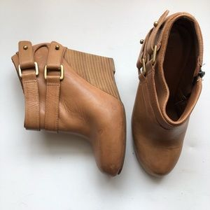 Hive & Honey Shoes - Hive and Honey Caramel Toluca Wedge Booties 7.5